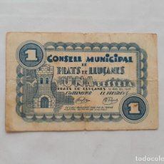 Billetes locales: F 1847 BILLETE MUNICIPAL PRATS DE LLUÇANES 1 PESETA T-2301. Lote 201365326