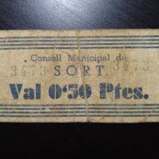 Billetes locales: BILLETE LOCAL 50 CÉNTIMOS SORT (LÉRIDA). Lote 201520791