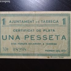 Billetes locales: BILLETE LOCAL 1 PESETA TÁRREGA (LÉRIDA). Lote 201521175