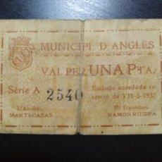 Billetes locales: BILLETE LOCAL 1 PESETA ANGLÉS (GERONA). Lote 201665991