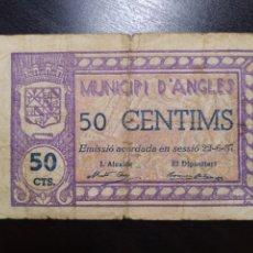 Billetes locales: BILLETE LOCAL 50 CÉNTIMOS ANGLÉS (GERONA). Lote 201666286
