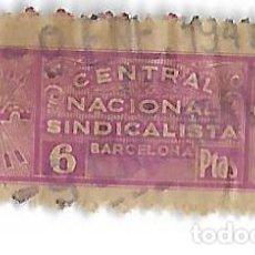 Billetes locales: CENTRAL NACIONAL SINDICALISTA - BARCELONA 6 PTAS.. Lote 201782697