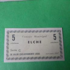 Billetes locales: ELCHE BILLETE CONSEJOS MUNICIPAL 5 CENTIMOS 1937. Lote 201958153
