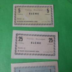 Billetes locales: ELCHE BILLETES 1937 CONSEJO MUNICIPAL 5 CTMOS 25 CTMOS UNA PESETA. Lote 201958500
