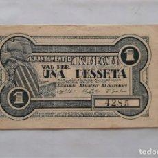 Billetes locales: F 1735 BILLETE AYUNTAMIENTO AIGUESBONES 1 PESETA T-37 EBC. Lote 202036620
