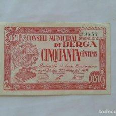 Billetes locales: F 1682 BILLETE CONSELL MUNICIPAL DE BERGA 50 CENTIMOS T-501 MBC+. Lote 203096667