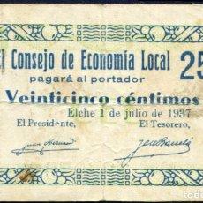 Billetes locales: ELCHE (ALICANTE) 25 CENTIMOS 1937 MBC. Lote 203267383