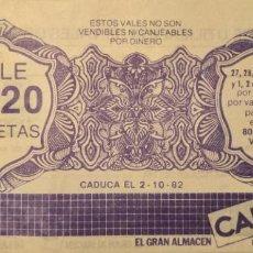 Billetes locales: ALMACENES CAPITOL - VALE POR 20 PESETAS - BARCELONA. Lote 203594168