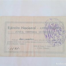 Billetes locales: F 1836 POBLA DE SEGUR EJERCITO NACIONAL 2 PESETAS - JUNTA GESTORA MUNICIPAL DE ABRIL DE 1938 E. Lote 198256172