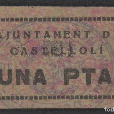 Billetes locales: J.B. BILLETE DE CASTELLOLI , 1 PESETA , 3ª EMISIÓN , MONTANER: 494 B , TURRÓ: 757 A. Lote 203750053