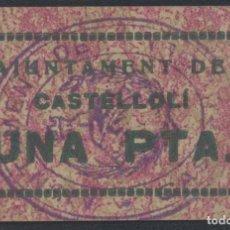 Billetes locales: J.B. BILLETE DE CASTELLOLI , 1 PESETA , 4ª EMISIÓN , MONTANER: 494 B , TURRÓ: 759. Lote 203856260