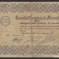 Billetes locales: J.B. BILLETE DE GIRONELLA , 50 CÉNTIMOS , MONTANER: 715 B , TURRÓ: 1125 A. Lote 203856415
