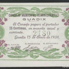 Billetes locales: J.B. BILLETE DE GUADIX , 25 CÉNTIMOS , 2ª EMISIÓN , MONTANER: 741 D. Lote 203856730