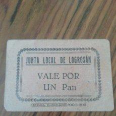 Billetes locales: JUNTA LOCAL DE LOGROSÁN. VALE 1 PAN. CÁCERES. Lote 204014092