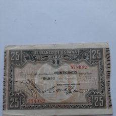 Billetes locales: 1937 BANCO BILBAO 578082 BANCO HISPANO AMERICANO 25 PESETAS NUMISMÁTICA COLISEVM. Lote 204258891