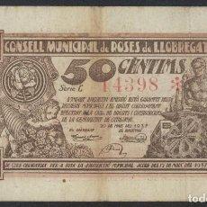 Billetes locales: J.B. BILLETE DE ROSES DE LLOBREGAT (HOY SANT FELIU DE LLOBREGAT) , 50 CÉNTIMOS. Lote 204516155