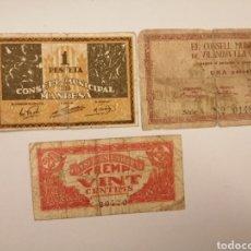 Billetes locales: LOTE 3 BILLETES LOCALES ESPAÑOLES. VER FOTO Y DESCRIPCION. Lote 204634320