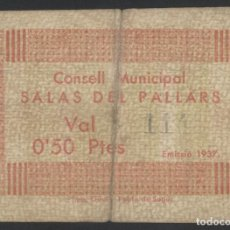 Billetes locales: J.B. BILLETE DE SALÀS DE PALLARS , 50 CENTIMOS , MONTANER: 1291 A , TURRÓ: 2252. Lote 204635817