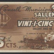 Billetes locales: J.B. BILLETE DE SALLENT , 25 CENTIMOS , MONTANER: 1299 A , TURRÓ: 2260. Lote 204636038
