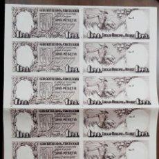Billetes locales: 1 PESETA - VINAROZ (CASTELLON) - PLIEGO COMPLETO SIN CORTAR - ORIGINAL DE EPOCA - MUY RARO. Lote 204791821
