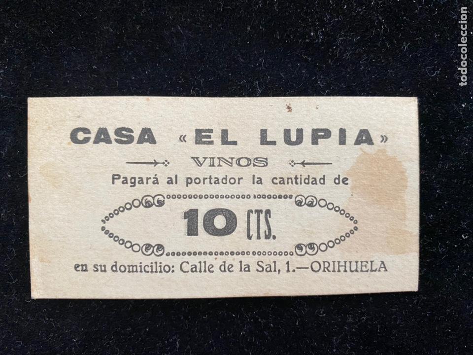 CASA EL LUPITA ORIHUELA 10 CTS VALENCIA (Numismática - Notafilia - Billetes Locales)