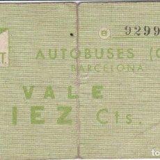 Billetes locales: VALE DE 10 CENTIMOS DE CNT-AIT DE AUTOBUSES DE BARCELONA (RARO). Lote 205164393