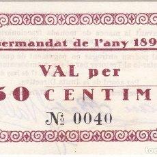 Billetes locales: BILLETE DE 50 CENTIMOS DE LA GERMANDAT DE L'ANY 1896 DEL AÑO 1937 (SIN CIRCULAR) SC. Lote 205164665