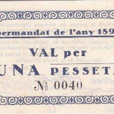 Billetes locales: BILLETE DE 1 PESETA DE LA GERMANDAT DE L'ANY 1896 DEL AÑO 1937 (SIN CIRCULAR) SC. Lote 205164780