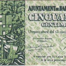 Billetes locales: BILLETE DE AJUNTAMENT DE BARCELONA DE 50 CENTIMOS DEL AÑO 1937. Lote 205173713
