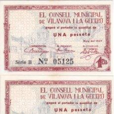 Billetes locales: PAREJA CORRELATIVA 1 PESETA DEL CONSELL MUNICIPAL DE VILANOVA I LA GELTRU SIN CIRCULAR (SELLO SECO). Lote 205174072