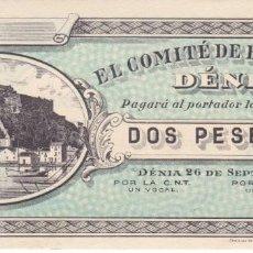 Billetes locales: BILLETE DE 2 PESETAS DEL COMITE DE DENIA SIN NUMERACION SIN CIRCULAR (SC). Lote 205174923