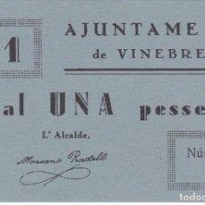 Billetes locales: BILLETE DE 1 PESETA DEL AJUNTAMENT DE VINEBRE DEL AÑO 1937 SIN CIRCULAR (SC). Lote 205175158