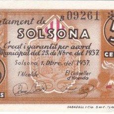 Billetes locales: BILLETE DE 50 CENTIMOS DEL CONSELL MUNICIPAL DE SOLSONA DE NOVIEMBRE AÑO 1937 SIN CIRCULAR (SC). Lote 205175473