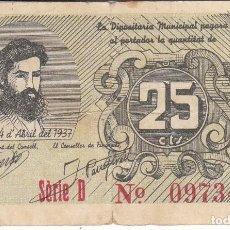 Billetes locales: BILLETE DE 25 CENTIMOS DEL CONSELL MUNICIPAL DE REUS DEL AÑO 1937 DE JOSEP LLOVERA. Lote 205176083