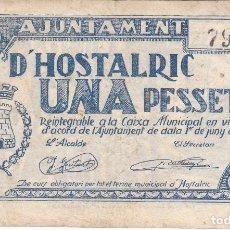 Billetes locales: BILLETE DE 1 PESETA DEL AJUNTAMENT DE HOSTALRIC DEL AÑO 1937. Lote 205176931