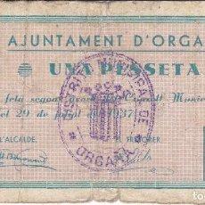 Billetes locales: BILLETE DE 1 PESETA DEL AJUNTAMENT D'ORGANYA DEL AÑO 1937. Lote 205177305