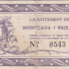 Billetes locales: BILLETE DE 50 CENTIMOS DEL AJUNTAMENT DE MONTCADA I REIXAC DE NOVEMBRE AÑO 1937. Lote 205177523
