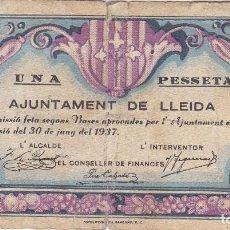 Billetes locales: BILLETE DE 1 PESETA DE AJUNTAMENT DE LLEIDA DEL AÑO 1937. Lote 205178040
