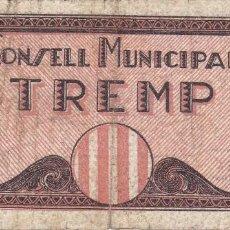 Billetes locales: BILLETE DE 50 CENTIMOS DEL CONSELL MUNICIPAL DE TREMP SERIE A DEL AÑO 1937. Lote 205178501