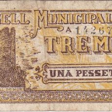 Billetes locales: BILLETE DE 1 PESETA DEL CONSELL MUNICIPAL DE TREMP DEL AÑO 1937. Lote 205178563