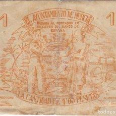 Billetes locales: BILLETE DE 1 PESETA DEL CONSEJO MUNICIPAL DE MURCIA DEL AÑO 1937 - 1ª EMISION. Lote 205178772