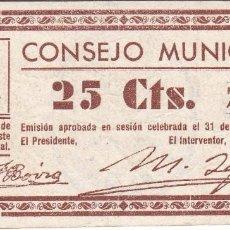 Billetes locales: BILLETE DE 25 CENTIMOS DEL CONSEJO MUNICIPAL DE FONZ DEL AÑO 1937 (HUESCA). Lote 205178905