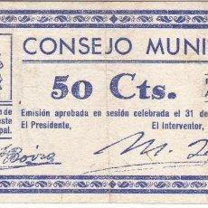 Billetes locales: BILLETE DE 50 CENTIMOS DEL CONSEJO MUNICIPAL DE FONZ DEL AÑO 1937 (HUESCA). Lote 205179023