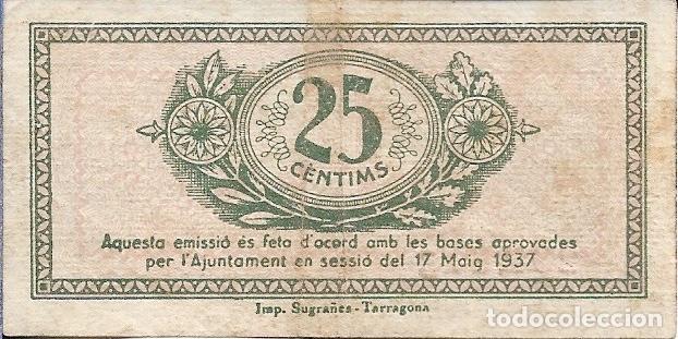 Billetes locales: BILLETE 25 CENTIMOS TARRAGONA # 292213 B - Foto 2 - 205250157