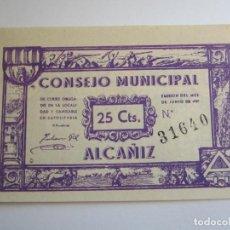 Billetes locales: 25 CENTIMOS DE ALCAÑIZ. Lote 205453596