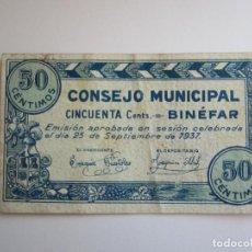 Billetes locales: 50 CENTIMOS DE BINEFAR. Lote 205453735