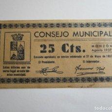 Billetes locales: 25 CENTIMOS DE MONZON. Lote 205453787