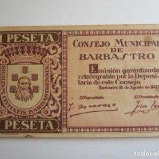 Billetes locales: 1 PESETA DE BARBASTRO. Lote 205453877