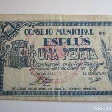 Billetes locales: 1 PESETA DE ESPLUS (HUESCA) CON SELLO ROJO. Lote 205453935