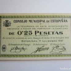 Billetes locales: 25 CENTIMOS DE ESTOPIÑAN (HUESCA) S.C. Lote 205454040